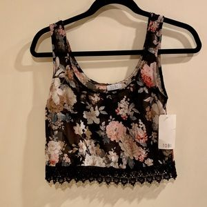 Tobi Black Floral Crop Top with Lace - Size S